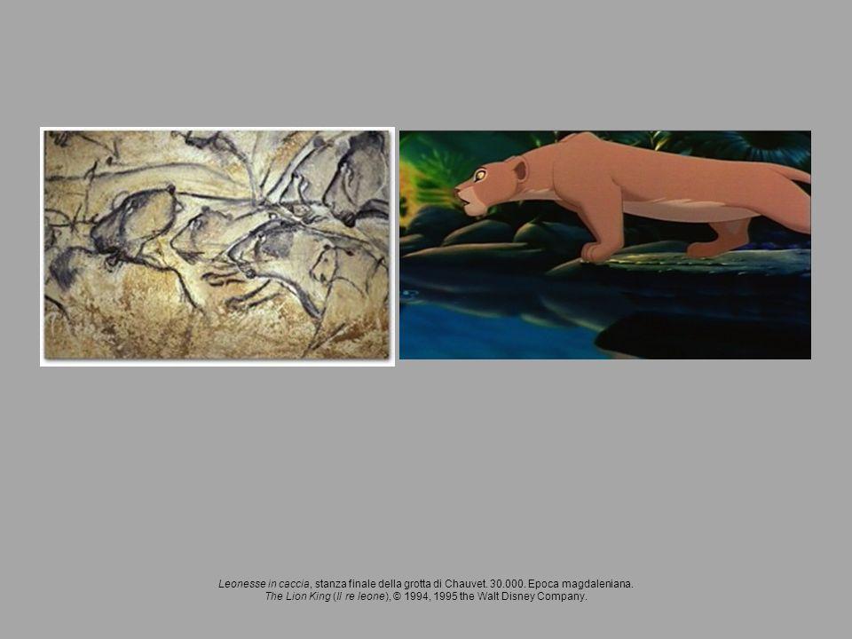 Leonesse in caccia, stanza finale della grotta di Chauvet. 30.000. Epoca magdaleniana. The Lion King (Il re leone), © 1994, 1995 the Walt Disney Compa