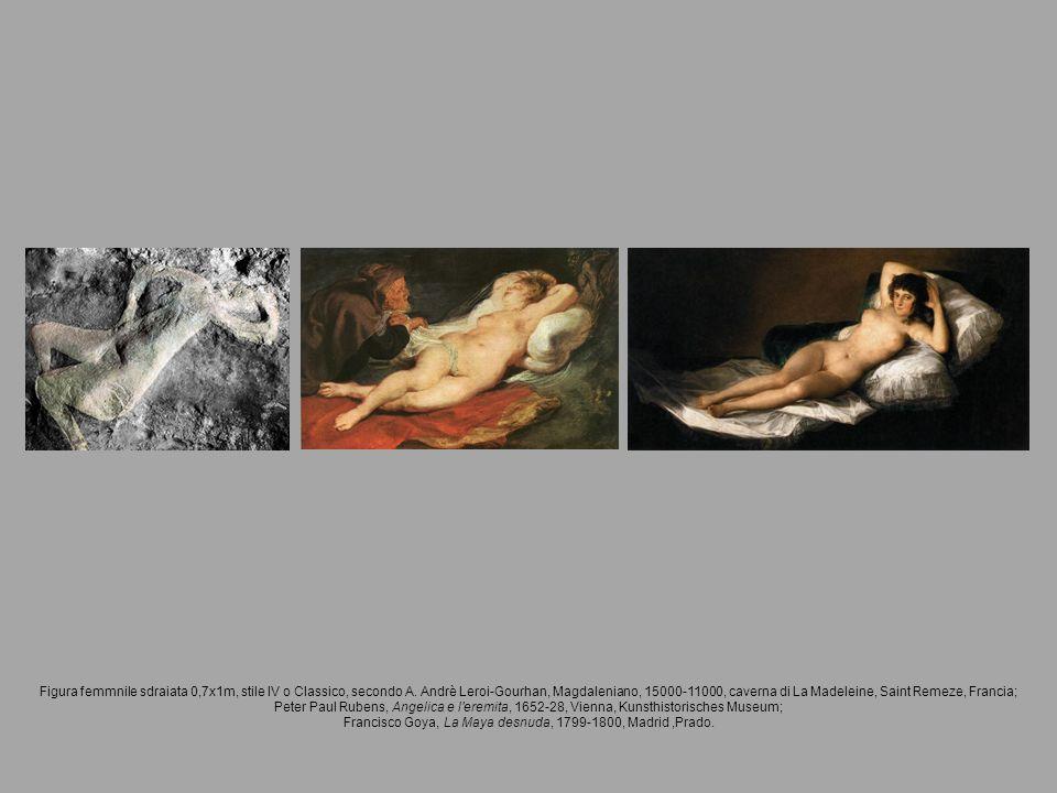Figura femmnile sdraiata 0,7x1m, stile IV o Classico, secondo A. Andrè Leroi-Gourhan, Magdaleniano, 15000-11000, caverna di La Madeleine, Saint Remeze