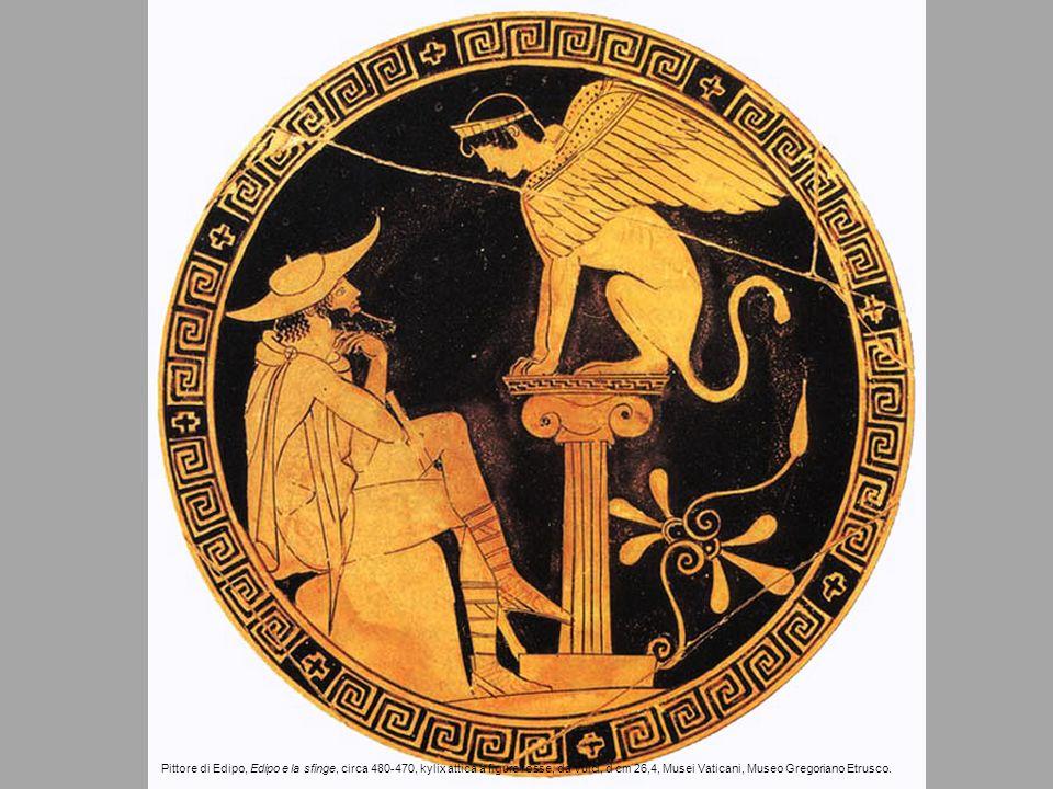 Pittore di Edipo, Edipo e la sfinge, circa 480-470, kylix attica a figure rosse, da Vulci, d cm 26,4, Musei Vaticani, Museo Gregoriano Etrusco.