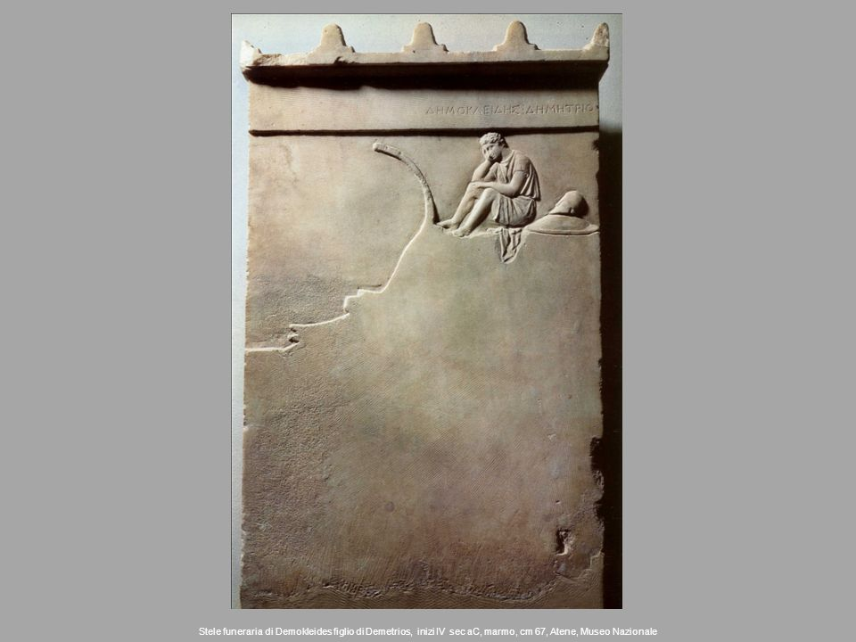 Stele funeraria di Demokleides figlio di Demetrios, inizi IV sec aC, marmo, cm 67, Atene, Museo Nazionale