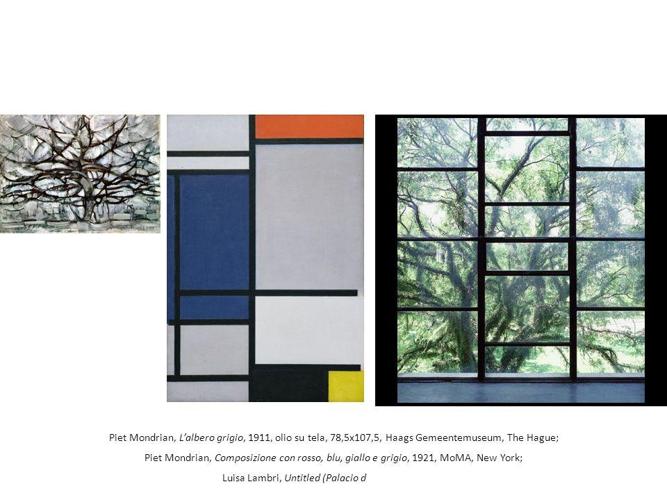 Piet Mondrian, Lalbero grigio, 1911, olio su tela, 78,5x107,5, Haags Gemeentemuseum, The Hague; Piet Mondrian, Composizione con rosso, blu, giallo e g