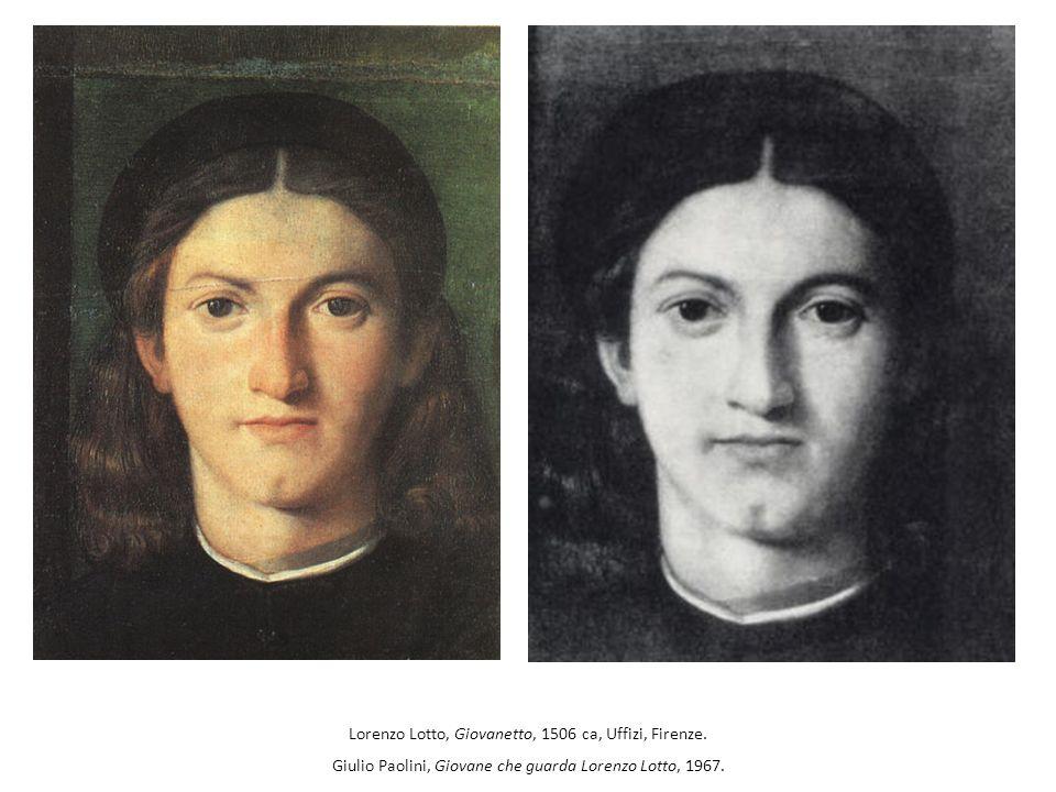 Lorenzo Lotto, Giovanetto, 1506 ca, Uffizi, Firenze. Giulio Paolini, Giovane che guarda Lorenzo Lotto, 1967.