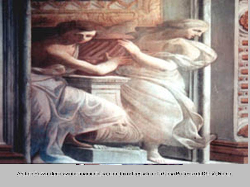 Andrea Pozzo, decorazione anamorfotica, corridoio affrescato nella Casa Professa del Gesù, Roma.