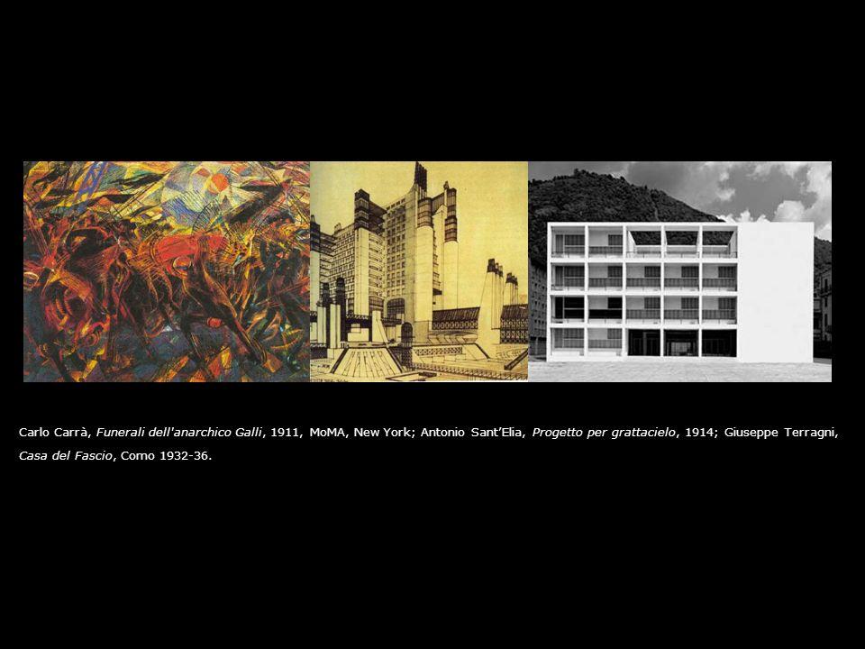 Carlo Carrà, Funerali dell'anarchico Galli, 1911, MoMA, New York; Antonio SantElia, Progetto per grattacielo, 1914; Giuseppe Terragni, Casa del Fascio