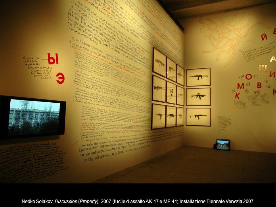 Nedko Solakov, Discussion (Property), 2007 (fucile d-assalto AK-47 e MP-44; installazione Biennale Venezia 2007.