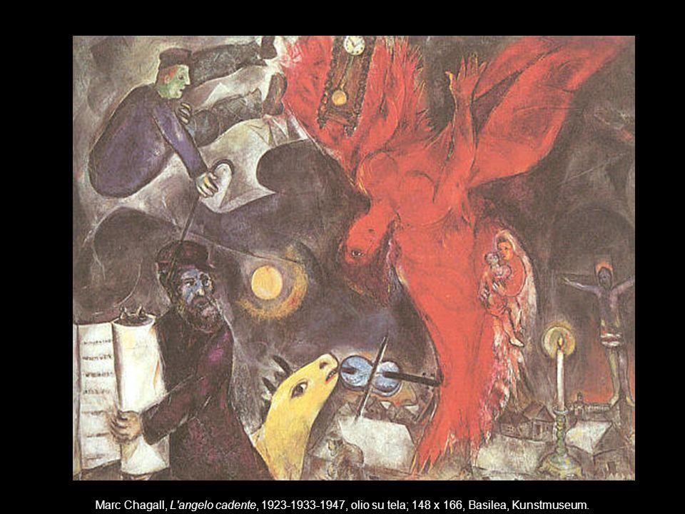Marc Chagall, L'angelo cadente, 1923-1933-1947, olio su tela; 148 x 166, Basilea, Kunstmuseum.
