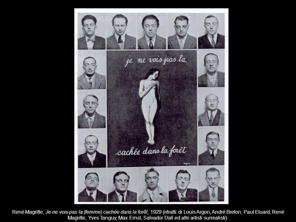 René Magritte, Je ne vois pas la (femme) cachée dans la forêt, 1929 (ritratti di Louis Argon, André Breton, Paul Eluard, René Magritte, Yves Tanguy, M
