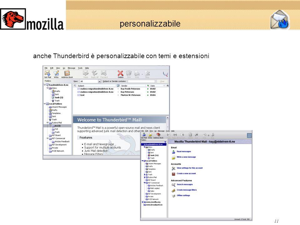 11 personalizzabile anche Thunderbird è personalizzabile con temi e estensioni