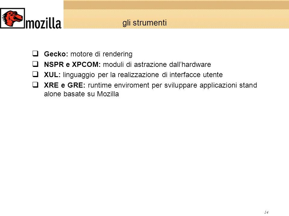 14 gli strumenti Gecko: motore di rendering NSPR e XPCOM: moduli di astrazione dallhardware XUL: linguaggio per la realizzazione di interfacce utente XRE e GRE: runtime enviroment per sviluppare applicazioni stand alone basate su Mozilla