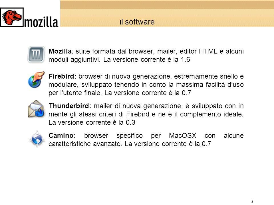 3 il software Mozilla: suite formata dal browser, mailer, editor HTML e alcuni moduli aggiuntivi.