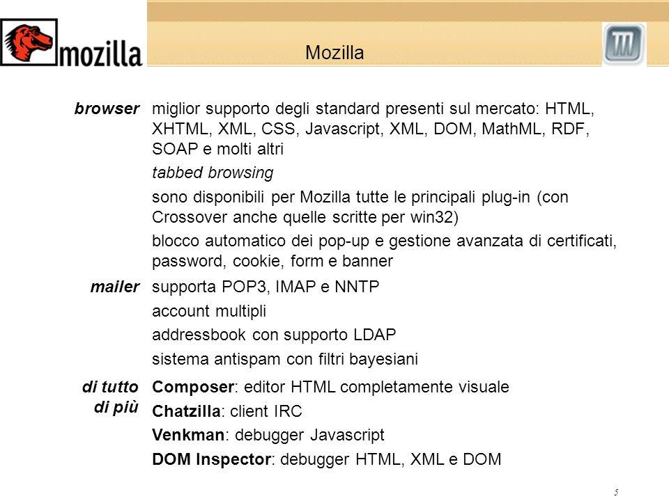 5 Mozilla miglior supporto degli standard presenti sul mercato: HTML, XHTML, XML, CSS, Javascript, XML, DOM, MathML, RDF, SOAP e molti altri tabbed browsing sono disponibili per Mozilla tutte le principali plug-in (con Crossover anche quelle scritte per win32) blocco automatico dei pop-up e gestione avanzata di certificati, password, cookie, form e banner browser supporta POP3, IMAP e NNTP account multipli addressbook con supporto LDAP sistema antispam con filtri bayesiani mailer Composer: editor HTML completamente visuale Chatzilla: client IRC Venkman: debugger Javascript DOM Inspector: debugger HTML, XML e DOM di tutto di più