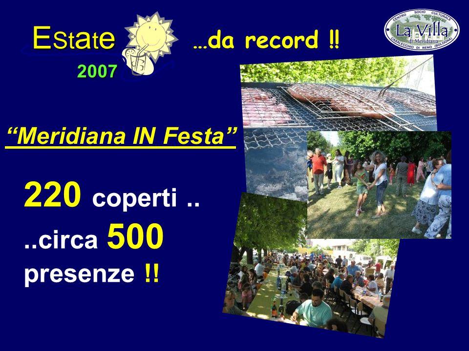 E St a t e 2007 220 coperti....circa 500 presenze !! Meridiana IN Festa …da record !!