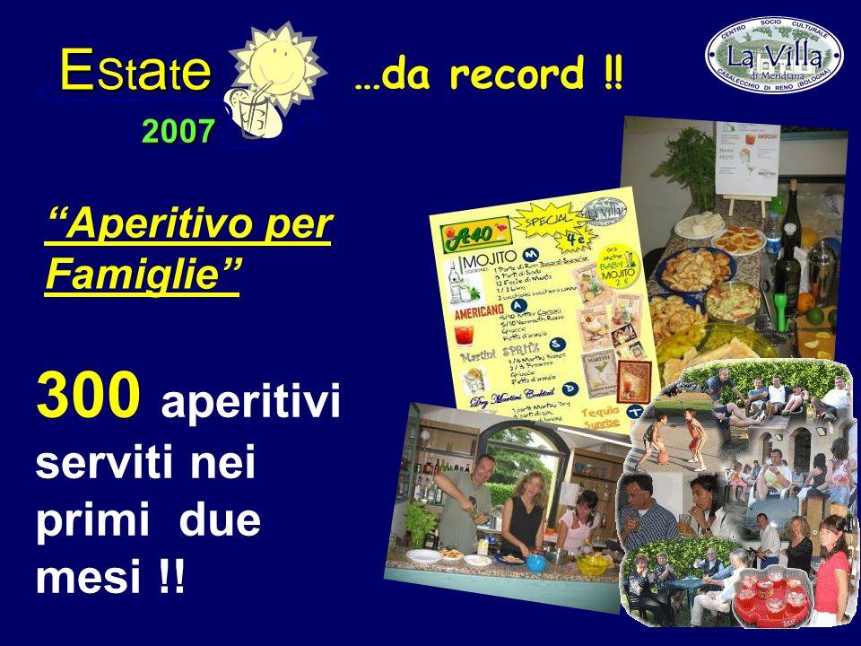 E St a t e 2007 300 aperitivi serviti nei primi due mesi !! Aperitivo per Famiglie …da record !!