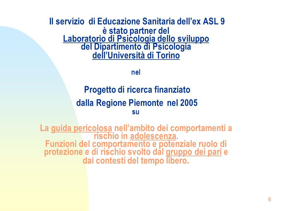 6 Il servizio di Educazione Sanitaria dellex ASL 9 è stato partner del Laboratorio di Psicologia dello sviluppo del Dipartimento di Psicologia dellUniversità di Torino nel Progetto di ricerca finanziato dalla Regione Piemonte nel 2005 su La guida pericolosa nellambito dei comportamenti a rischio in adolescenza.