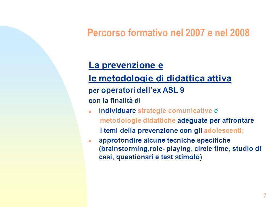 7 Percorso formativo nel 2007 e nel 2008 La prevenzione e le metodologie di didattica attiva per operatori dellex ASL 9 con la finalità di n individua