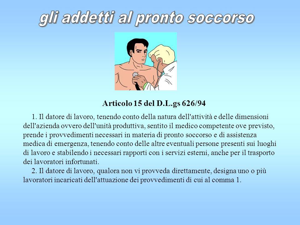 Articolo 15 del D.L.gs 626/94 1. Il datore di lavoro, tenendo conto della natura dell'attività e delle dimensioni dell'azienda ovvero dell'unità produ