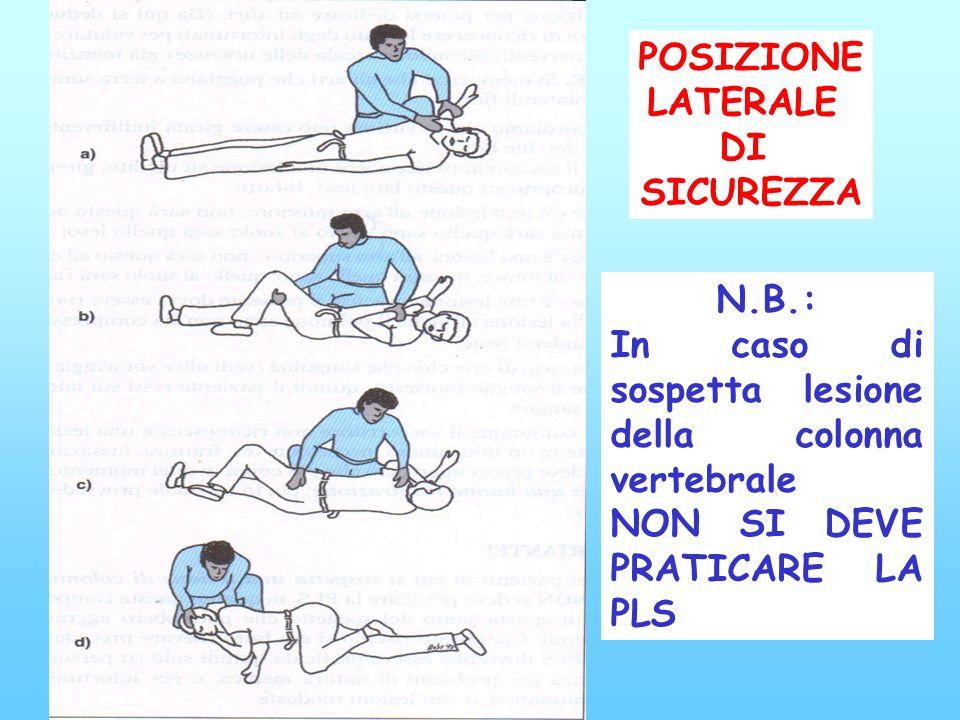 se il paziente è cosciente posizione supina se il paziente è incosciente lasciarlo disteso; non alzargli le gambe solo se vomita ed è in posizione sup