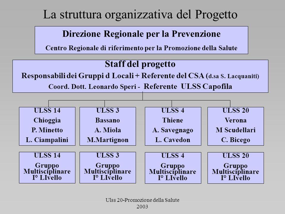 Ulss 20-Promozione della Salute 2003 La struttura organizzativa del Progetto Direzione Regionale per la Prevenzione Centro Regionale di riferimento pe