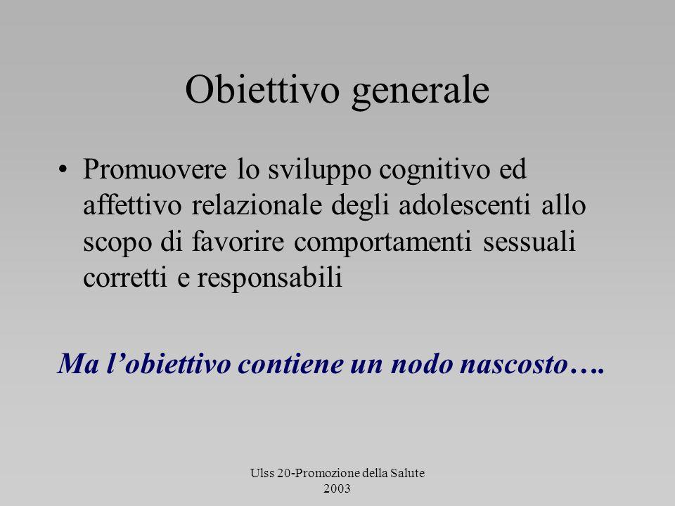 Ulss 20-Promozione della Salute 2003 Obiettivo generale Promuovere lo sviluppo cognitivo ed affettivo relazionale degli adolescenti allo scopo di favo