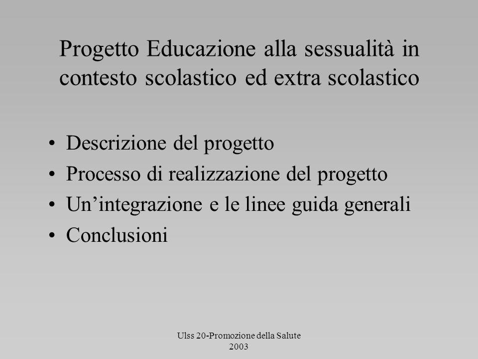 Ulss 20-Promozione della Salute 2003 Progetto Educazione alla sessualità in contesto scolastico ed extra scolastico Descrizione del progetto Processo