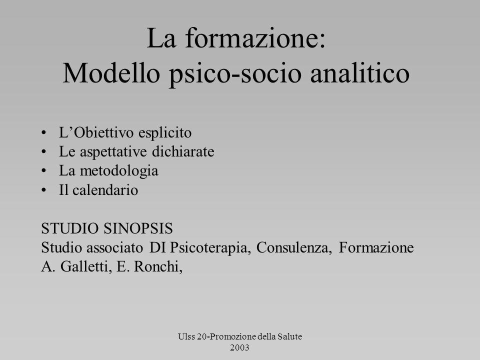 Ulss 20-Promozione della Salute 2003 La formazione: Modello psico-socio analitico LObiettivo esplicito Le aspettative dichiarate La metodologia Il cal