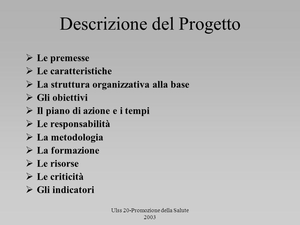 Ulss 20-Promozione della Salute 2003 Descrizione del Progetto Le premesse Le caratteristiche La struttura organizzativa alla base Gli obiettivi Il pia