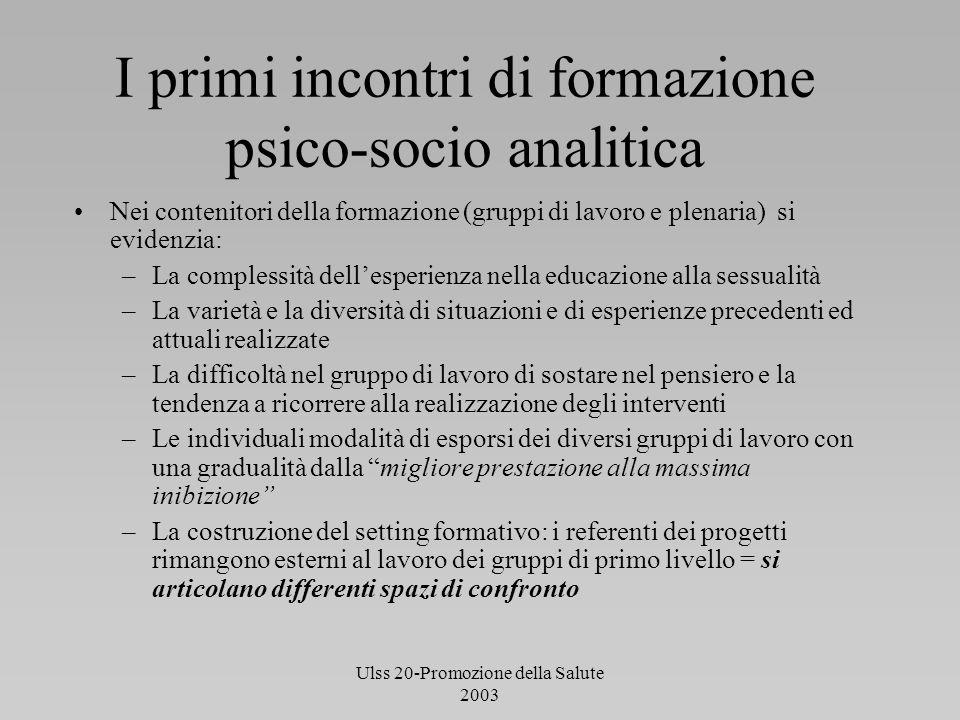 Ulss 20-Promozione della Salute 2003 I primi incontri di formazione psico-socio analitica Nei contenitori della formazione (gruppi di lavoro e plenari