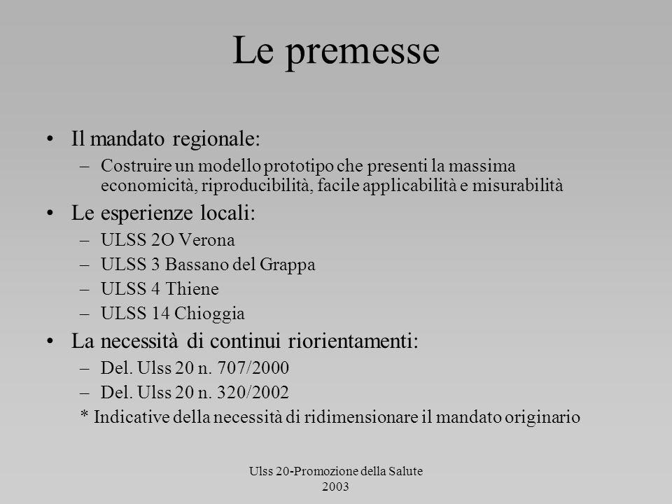 Ulss 20-Promozione della Salute 2003 Le premesse Il mandato regionale: –Costruire un modello prototipo che presenti la massima economicità, riproducib