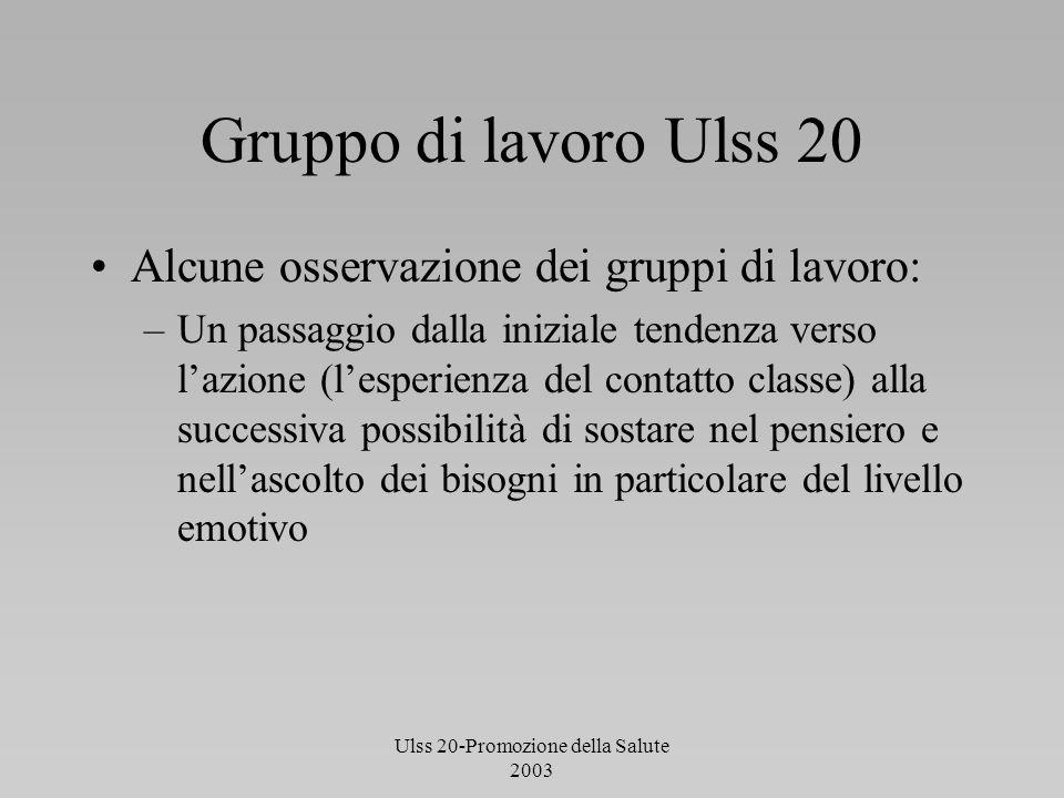 Ulss 20-Promozione della Salute 2003 Gruppo di lavoro Ulss 20 Alcune osservazione dei gruppi di lavoro: –Un passaggio dalla iniziale tendenza verso la