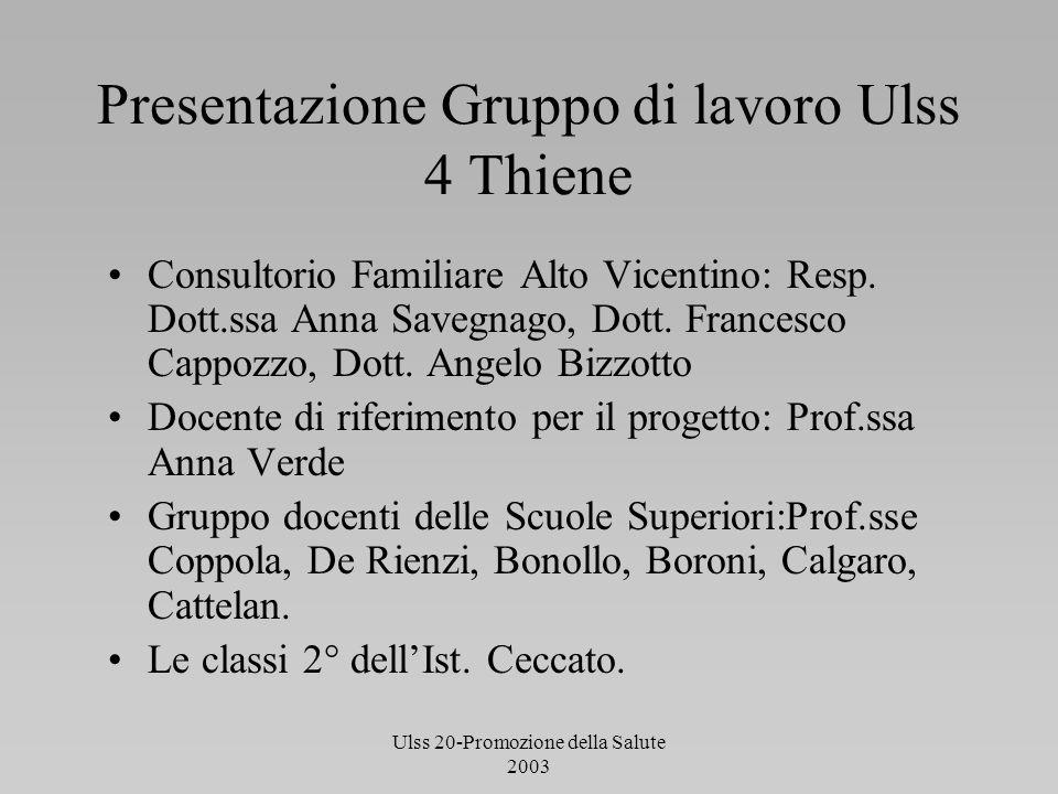 Ulss 20-Promozione della Salute 2003 Presentazione Gruppo di lavoro Ulss 4 Thiene Consultorio Familiare Alto Vicentino: Resp. Dott.ssa Anna Savegnago,