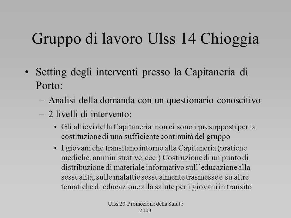 Ulss 20-Promozione della Salute 2003 Gruppo di lavoro Ulss 14 Chioggia Setting degli interventi presso la Capitaneria di Porto: –Analisi della domanda