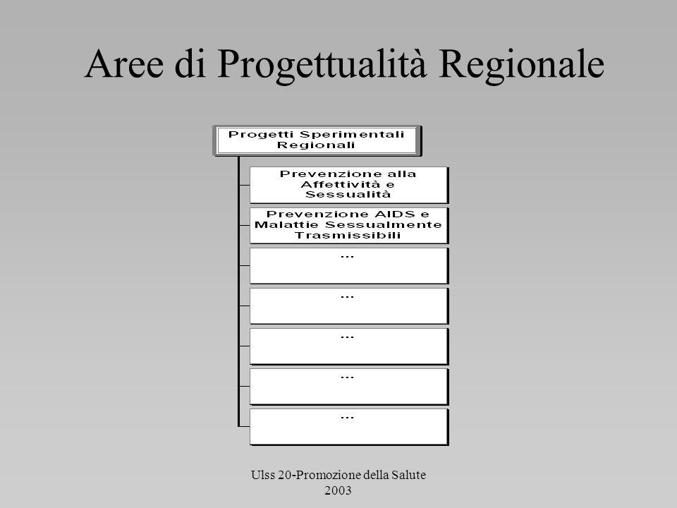 Ulss 20-Promozione della Salute 2003 La struttura organizzativa del Progetto Direzione Regionale per la Prevenzione Centro Regionale di riferimento per la Promozione della Salute Staff del progetto Responsabili dei Gruppi d Locali + Referente del CSA ( d.sa S.