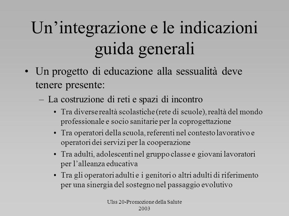 Ulss 20-Promozione della Salute 2003 Unintegrazione e le indicazioni guida generali Un progetto di educazione alla sessualità deve tenere presente: –L
