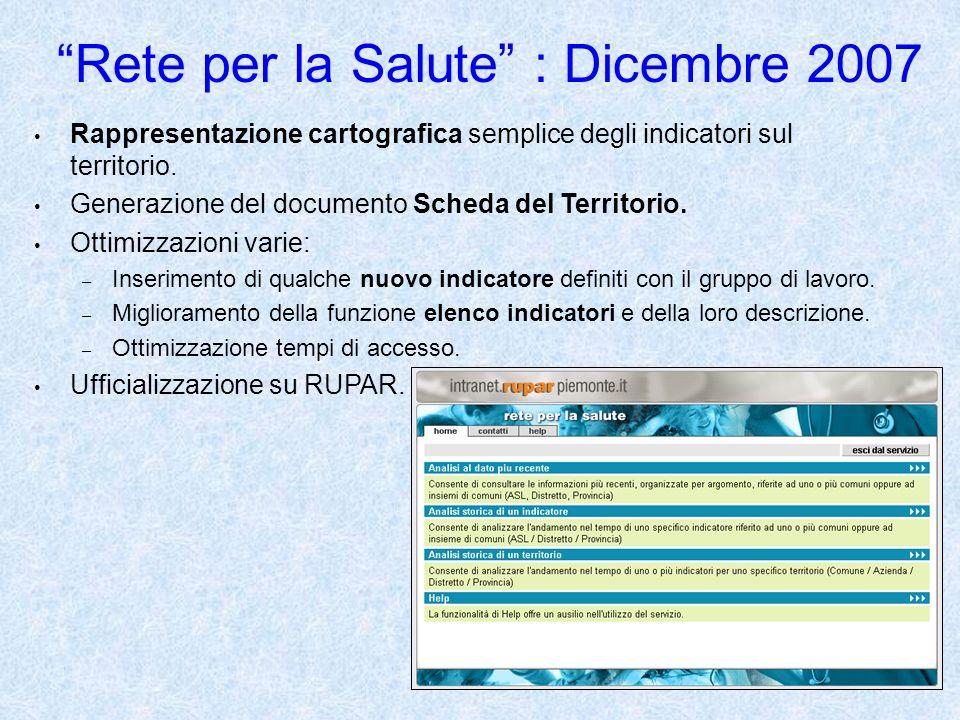 41 Rete per la Salute : Dicembre 2007 Rappresentazione cartografica semplice degli indicatori sul territorio.