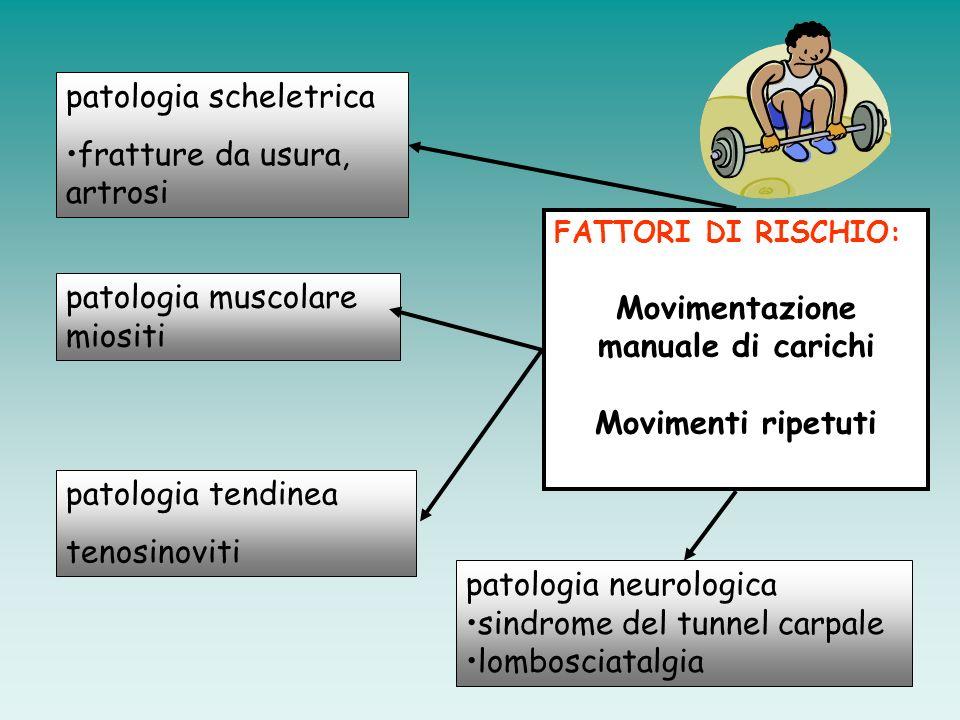 Fattori organizzativi Fattori di rischio per la salute Fattori fisici Fattori chimici Agenti biologici Sovraccarico meccanico