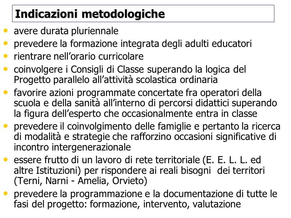 Indicazioni metodologiche Indicazioni metodologiche avere durata pluriennale prevedere la formazione integrata degli adulti educatori rientrare nellor