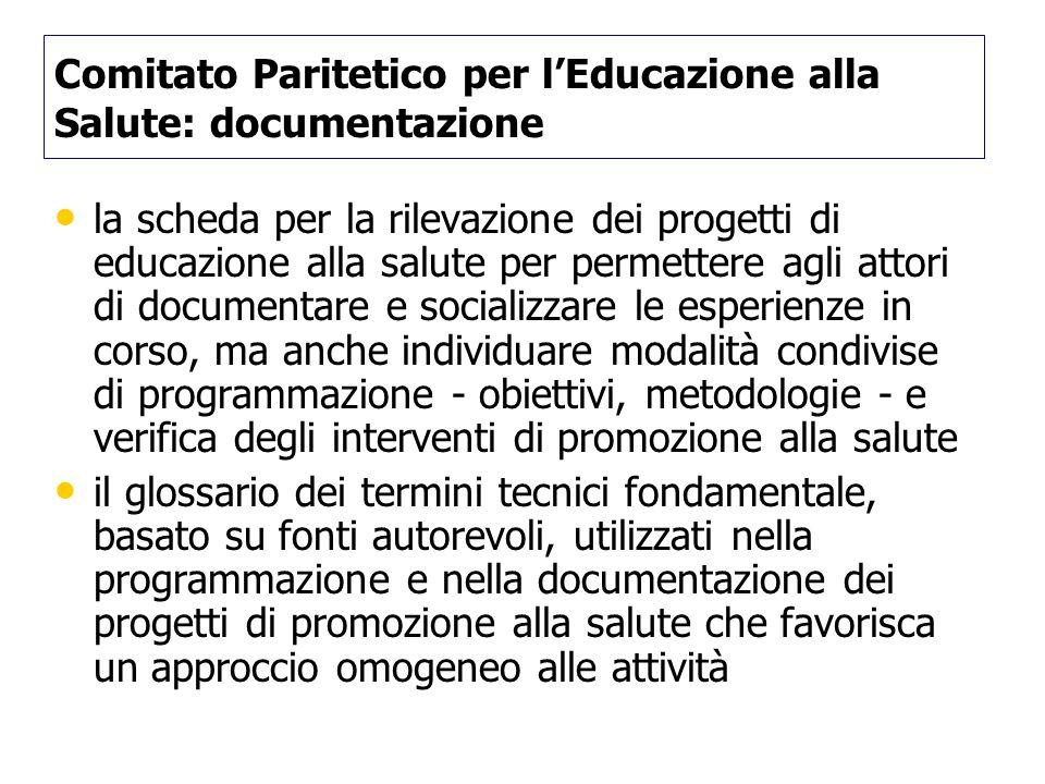 Comitato Paritetico per lEducazione alla Salute: documentazione la scheda per la rilevazione dei progetti di educazione alla salute per permettere agl