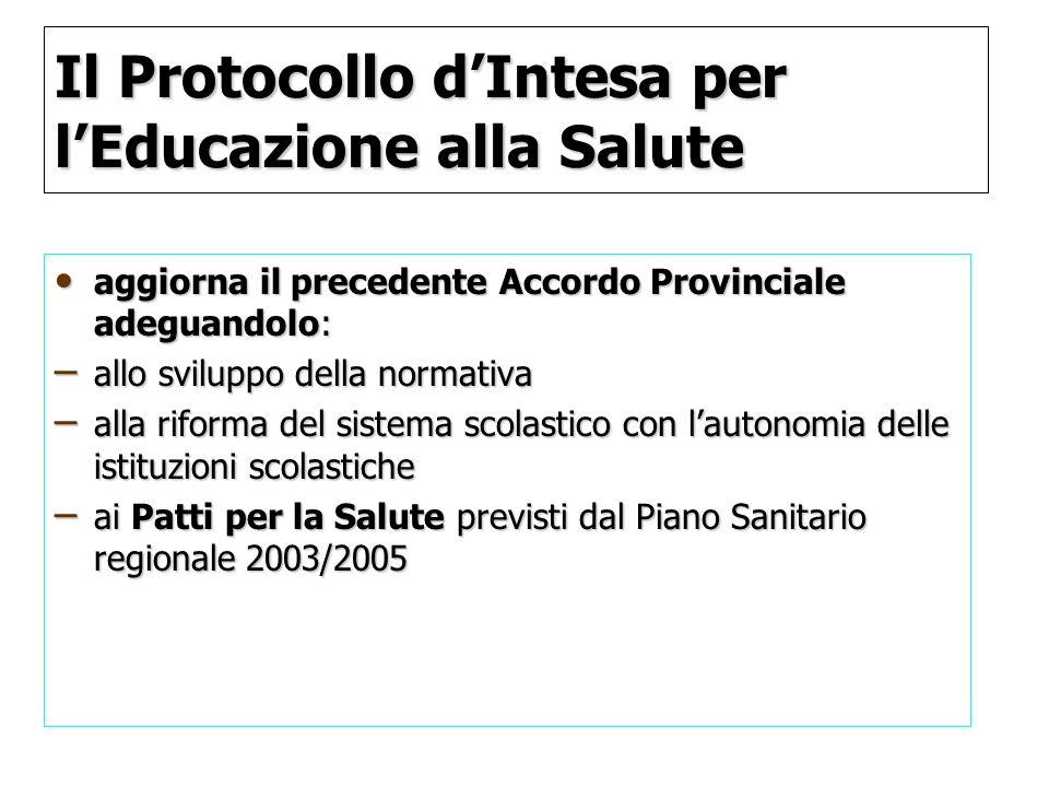 Il Protocollo dIntesa per lEducazione alla Salute aggiorna il precedente Accordo Provinciale adeguandolo: aggiorna il precedente Accordo Provinciale a
