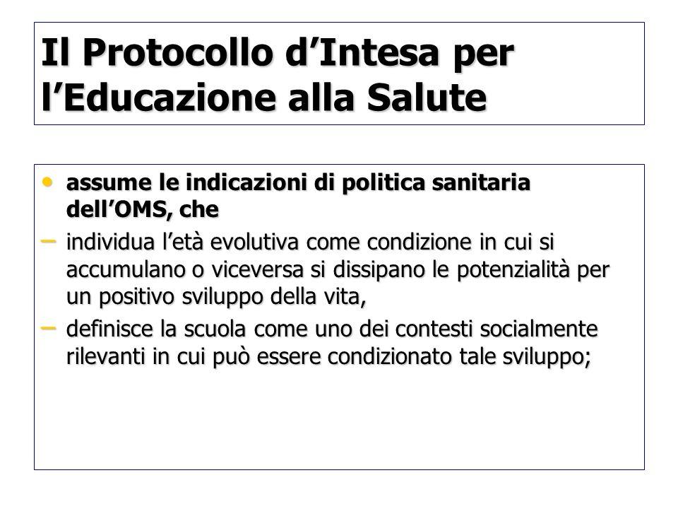 Il Protocollo dIntesa per lEducazione alla Salute assume le indicazioni di politica sanitaria dellOMS, che assume le indicazioni di politica sanitaria