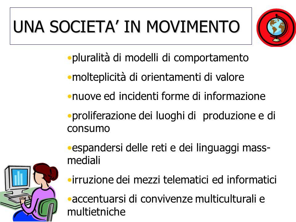 UNA SOCIETA IN MOVIMENTO pluralità di modelli di comportamento molteplicità di orientamenti di valore nuove ed incidenti forme di informazione prolife