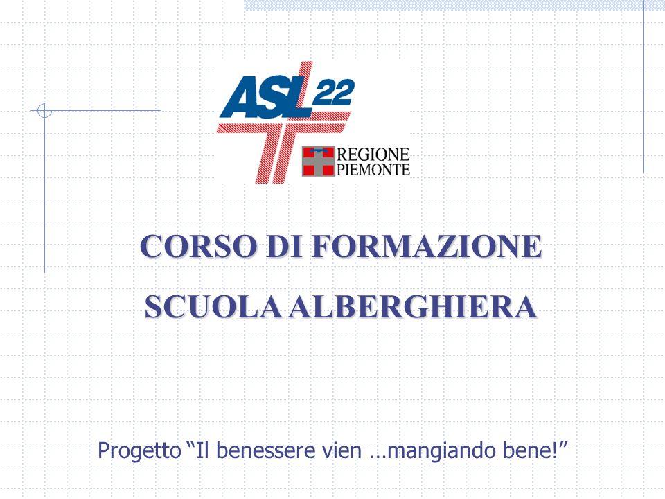 CORSO DI FORMAZIONE SCUOLA ALBERGHIERA Progetto Il benessere vien …mangiando bene!