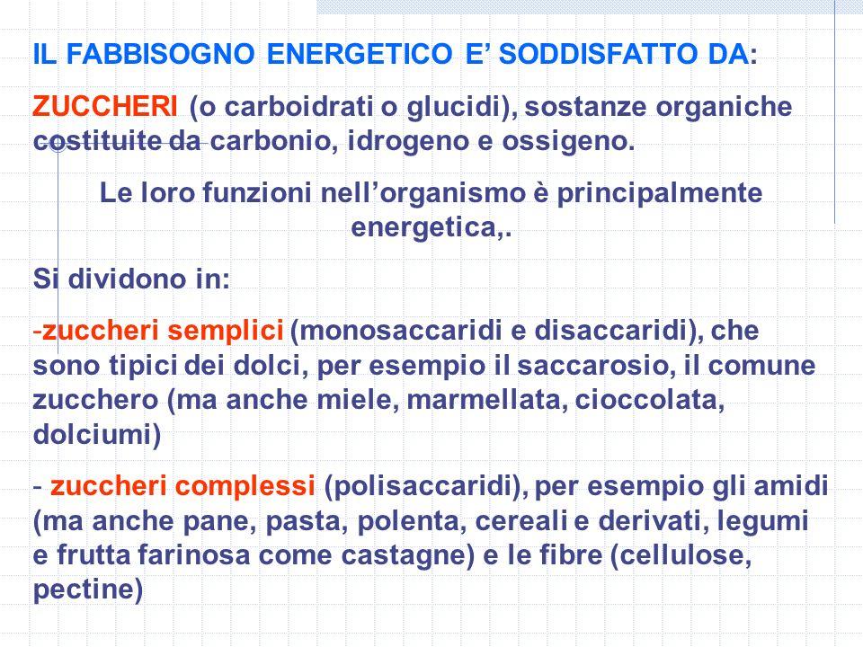 IL FABBISOGNO ENERGETICO E SODDISFATTO DA: ZUCCHERI (o carboidrati o glucidi), sostanze organiche costituite da carbonio, idrogeno e ossigeno. Le loro