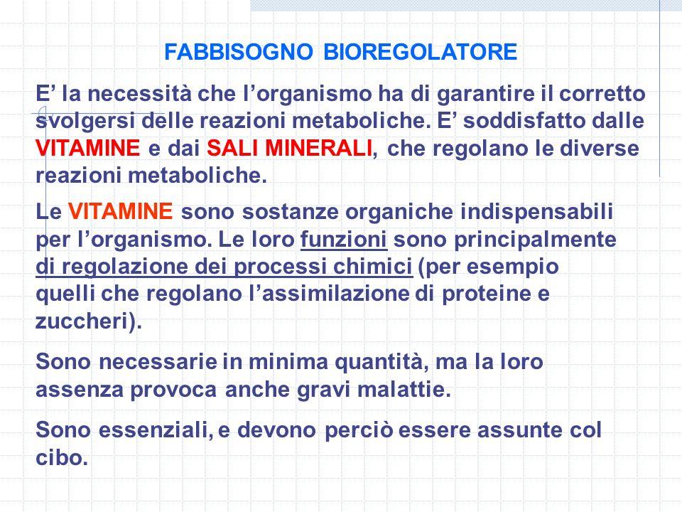 FABBISOGNO BIOREGOLATORE E la necessità che lorganismo ha di garantire il corretto svolgersi delle reazioni metaboliche. E soddisfatto dalle VITAMINE