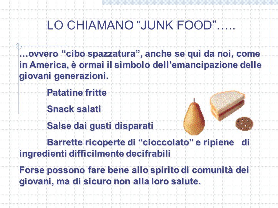 LO CHIAMANO JUNK FOOD….. …ovvero cibo spazzatura, anche se qui da noi, come in America, è ormai il simbolo dellemancipazione delle giovani generazioni