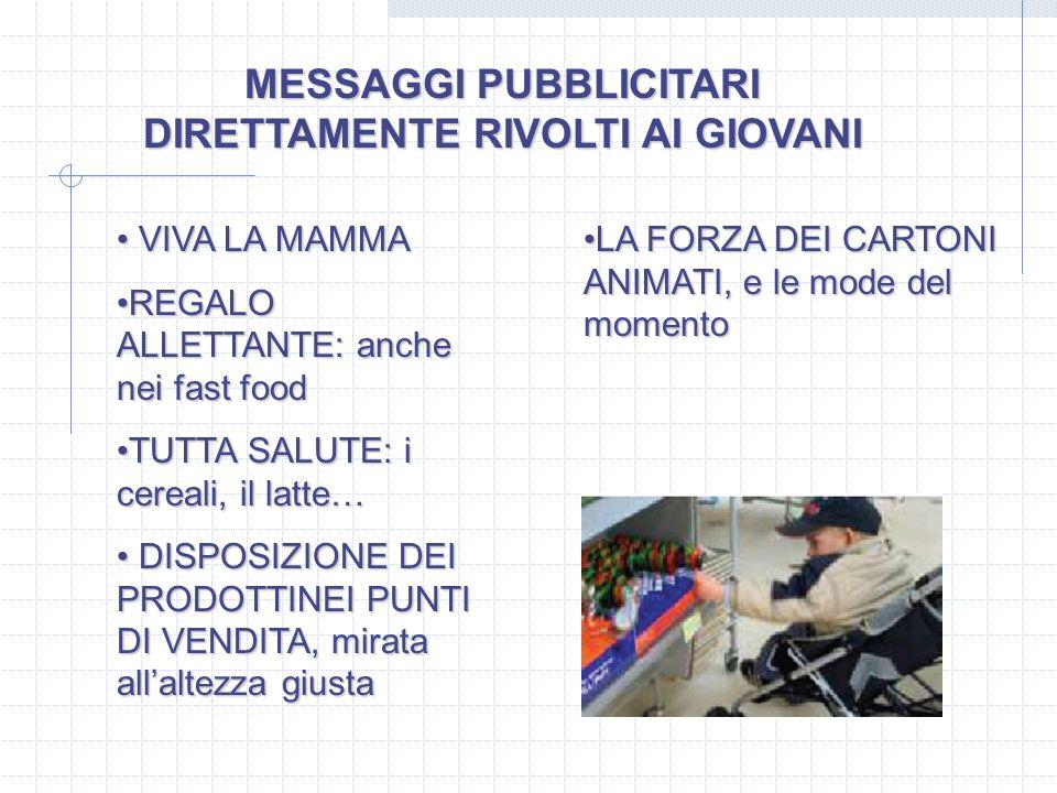 MESSAGGI PUBBLICITARI DIRETTAMENTE RIVOLTI AI GIOVANI VIVA LA MAMMA VIVA LA MAMMA REGALO ALLETTANTE: anche nei fast foodREGALO ALLETTANTE: anche nei f