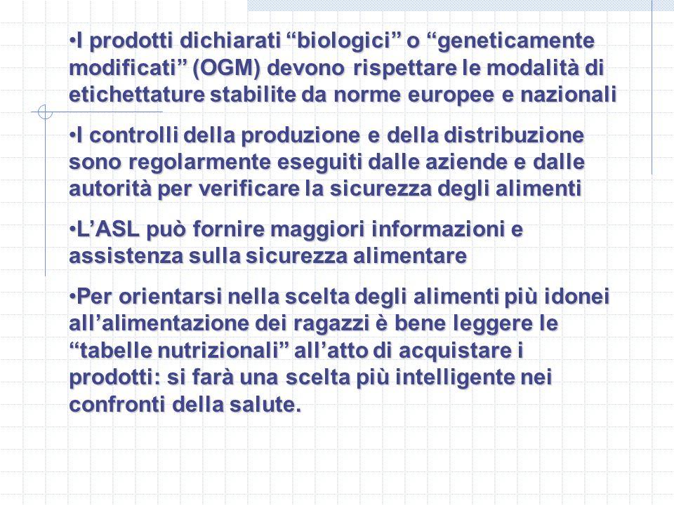 I prodotti dichiarati biologici o geneticamente modificati (OGM) devono rispettare le modalità di etichettature stabilite da norme europee e nazionali