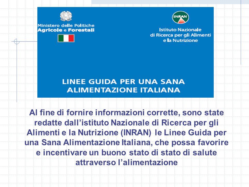 Al fine di fornire informazioni corrette, sono state redatte dallistituto Nazionale di Ricerca per gli Alimenti e la Nutrizione (INRAN) le Linee Guida
