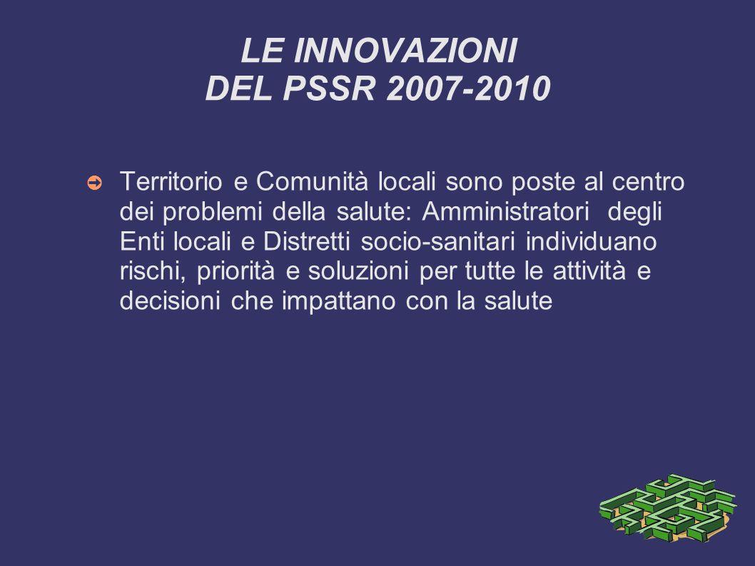 LE INNOVAZIONI DEL PSSR 2007-2010 Territorio e Comunità locali sono poste al centro dei problemi della salute: Amministratori degli Enti locali e Dist