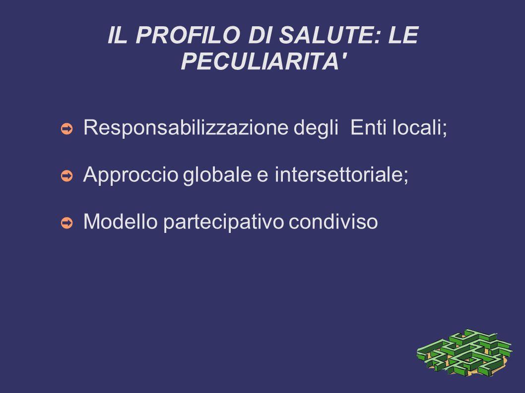 IL PROFILO DI SALUTE: LE PECULIARITA' Responsabilizzazione degli Enti locali; Approccio globale e intersettoriale; Modello partecipativo condiviso