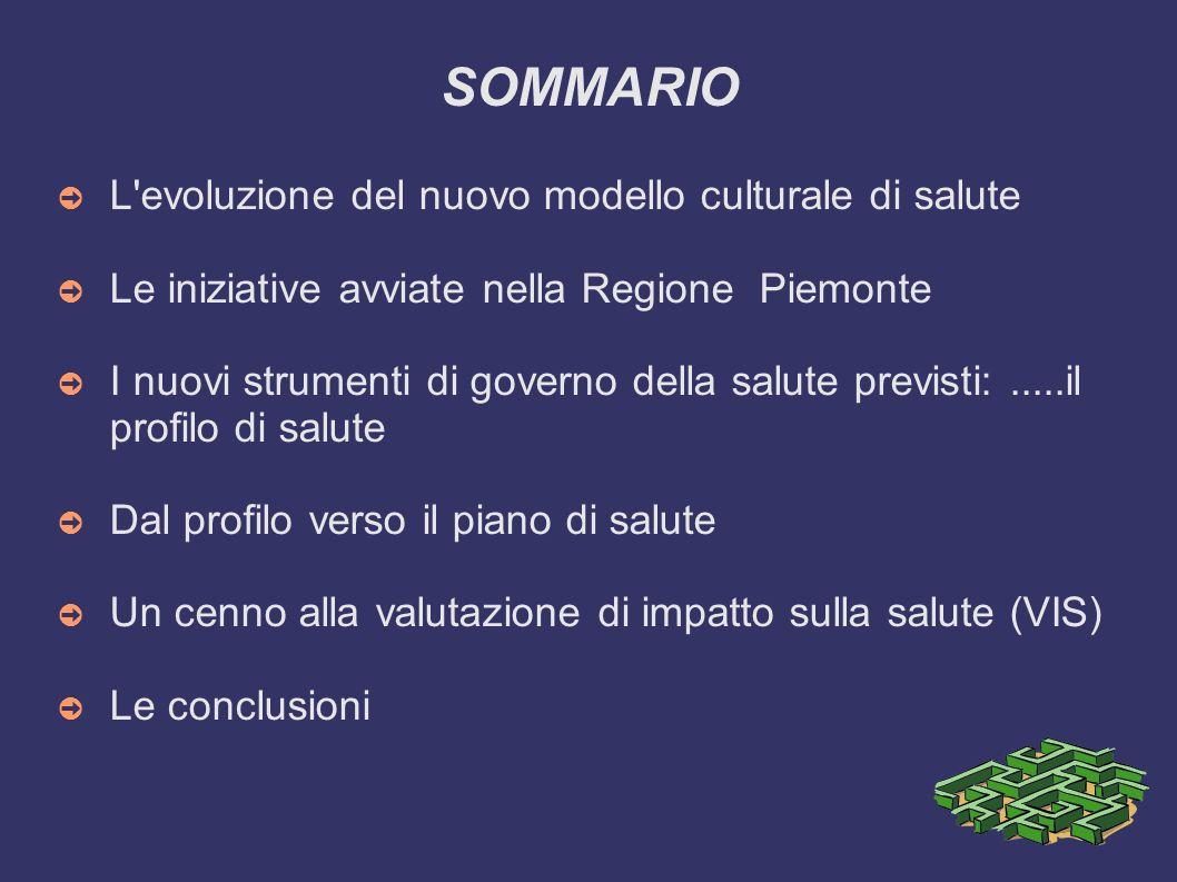 SOMMARIO L'evoluzione del nuovo modello culturale di salute Le iniziative avviate nella Regione Piemonte I nuovi strumenti di governo della salute pre